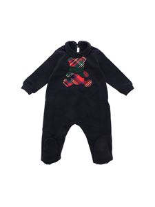Il Gufo - Blue rompersuit with check bear