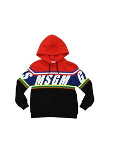 MSGM - Logo hoodie in red and black
