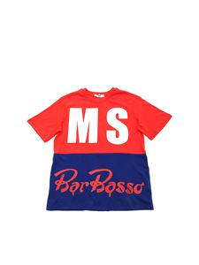 MSGM - Logo t-shirt in red and blue electric