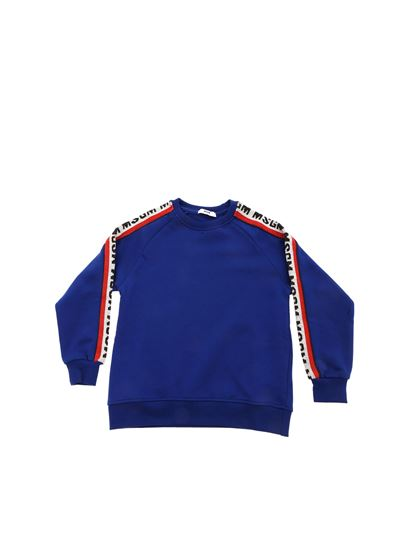 MSGM - Sweatshirt in electric blue color with branded side bands
