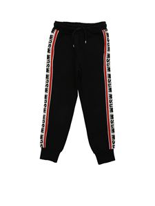 MSGM - Black pants with branded side bands