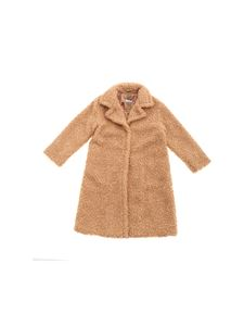 Monnalisa - Eco-fur coat in camel color with lapels