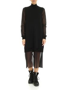 McQ Alexander Mcqueen - Knitted and tulle dress in black