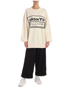 Y-3 Yohji Yamamoto - Ecru color pullover with black logo embroidery