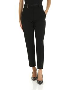 Peserico - Black trousers with tone on tone silk edges