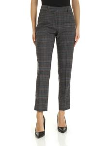 Peserico - Black trousers with contrast check pattern