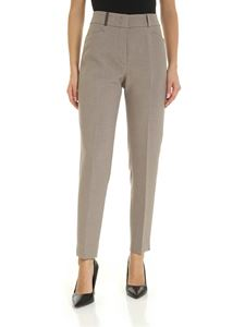 Peserico - Melange grey trousers with leather detail