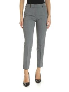 Peserico - Melange grey trousers with leather details