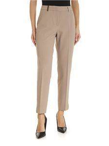 Peserico - Trousers in beige with leather trim
