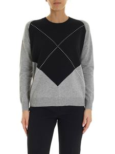 Peserico - Intarsia pullover in gray and blue