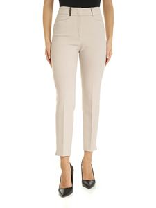 Peserico - Trousers in beige with leather detail