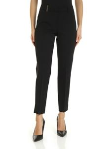 Peserico - Trousers in black with leather detail