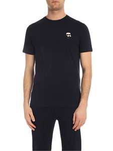 Karl Lagerfeld - Ikonik Rubber blue T-shirt with patch