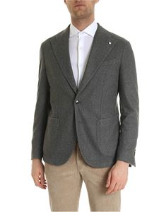 L.B.M. 1911 - Single-breasted jacket in grey with logo brooch