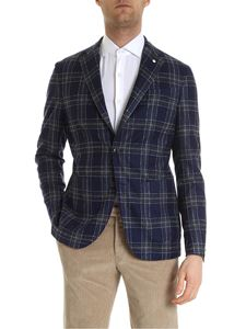 L.B.M. 1911 - Check pattern single-breasted jacket in blue