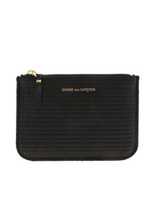 Comme Des Garçons Wallet - Mini clutch in black with geometric pattern
