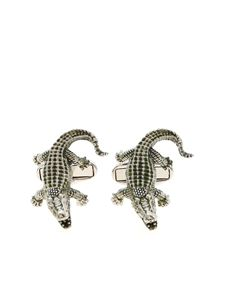 Paul Smith - Crocodile cufflinks in silver and green