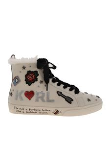 Karl Lagerfeld - Jewel Badge Hi sneakers in white