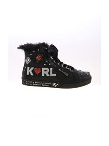 Karl Lagerfeld - Jewel Badge HI sneakers in black