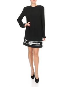 Dsquared2 - White embroidered logo short dress in black