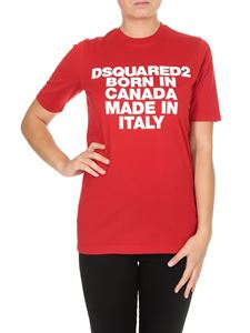 Dsquared2 - T-Shirt Born In Canada Made In Italy rossa