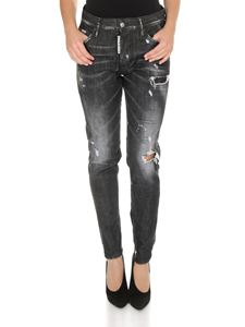 Dsquared2 - Jeans Skinny Dan Black Worked