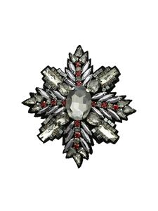 Pinko - Rivedere brooch in anthracite grey and red