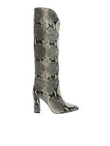 Paris Texas - Reptile effect boots in cream and black