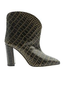 Paris Texas - Crocodile print ankle boots in black and gold