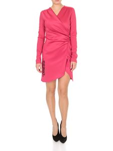 Off-White - Vestito incrociato DRESS fucsia
