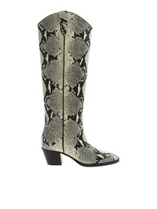 Paris Texas - Reptile print leather boots in beige and white