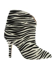 Paris Texas - Zebra pattern ankle boots in white and black