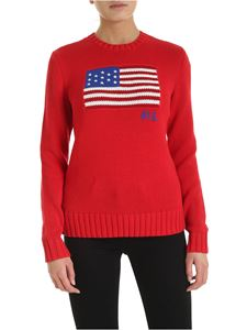 POLO Ralph Lauren - Flag logo intarsia pullover in red