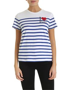 POLO Ralph Lauren - Striped T-shirt with logo in white electric blue