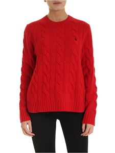 POLO Ralph Lauren - Braided crew neck pullover in red