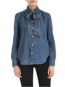POLO Ralph Lauren - Shirt in blue denim with bow