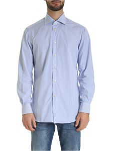 Kiton - Striped shirt in blue and white