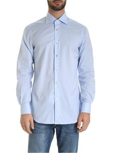 Kiton - Micro check shirt in light blue and white
