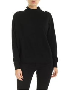 Michael Kors - Pullover a collo alto nero con bottoni decorativi