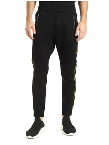 Dsquared2 - Yellow stripes fleece pants in black