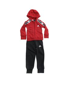 Adidas - Branded bands tracksuit in burgundy and black