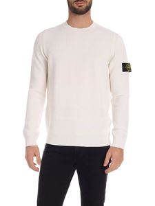Stone Island - Cable knitted pullover in white