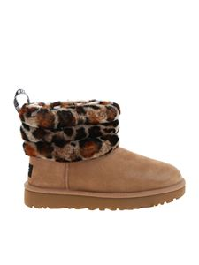 UGG Australia - Fluff Mini Quilted Leopard ankle boots in brown