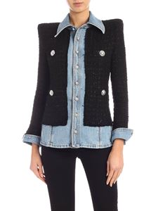 Balmain - Denim jacket with wool details