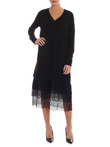 Twin-Set - Dress in black with lace detail