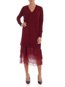 Twin-Set - Dress in burgundy with lace detail