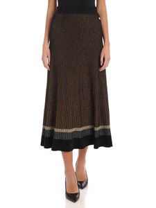 Twin-Set - Midi skirt in black and gold lamè