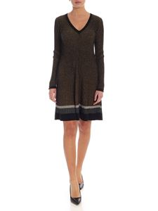Twin-Set - Black and golden lamè knit dress