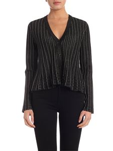 Twin-Set - Pleated cardigan in black and silver