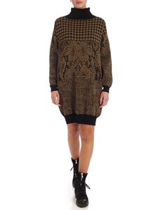 Twin-Set - Dress in black and golden jacquard knit
